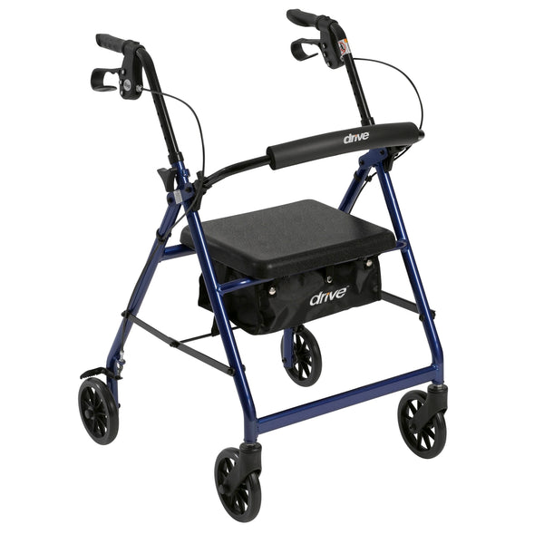 "Rollator Rolling Walker with 6"" Wheels, Fold Up Removable Back Support and Padded Seat, Blue"