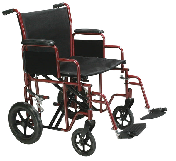 "Bariatric Heavy Duty Transport Wheelchair with Swing Away Footrest, 20"" Seat, Red"
