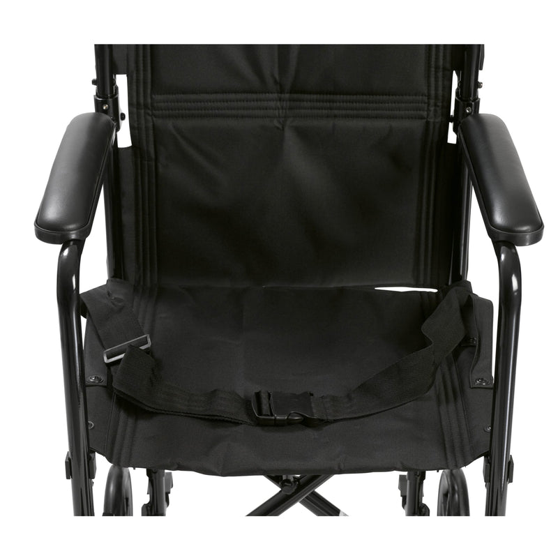 "Lightweight Transport Wheelchair, 19"" Seat, Black"