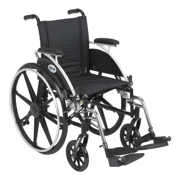 "Viper Wheelchair with Flip Back Removable Arms, Desk Arms, Swing away Footrests, 12"" Seat"