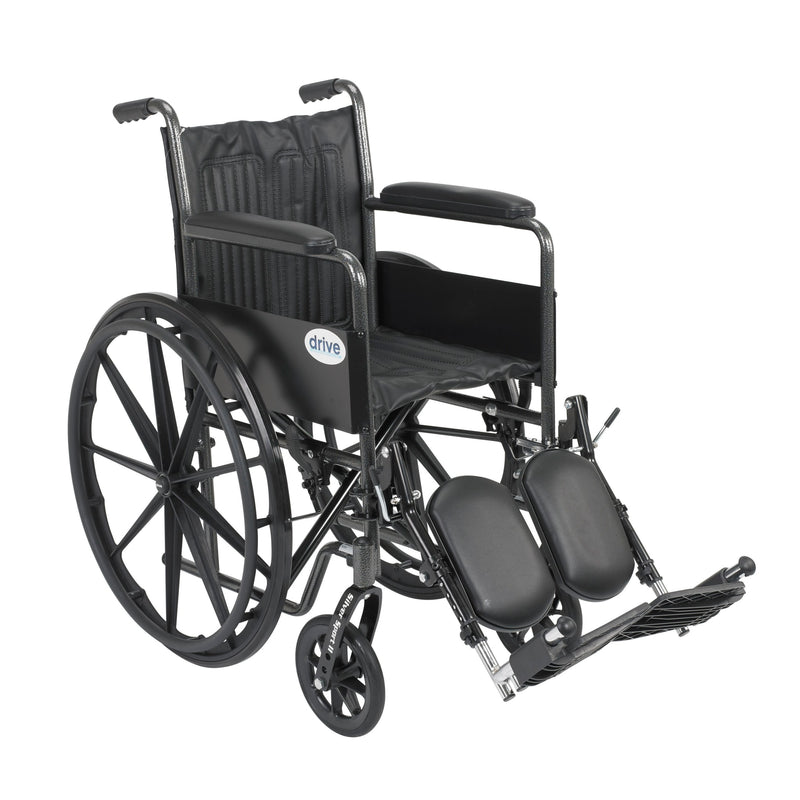 "Silver Sport 2 Wheelchair, Non Removable Fixed Arms, Elevating Leg Rests, 18"" Seat"