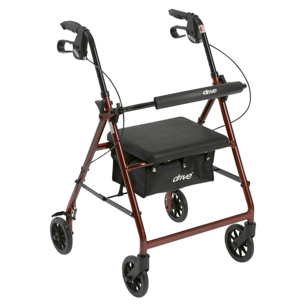 "Rollator Rolling Walker with 6"" Wheels, Fold Up Removable Back Support and Padded Seat, Red"