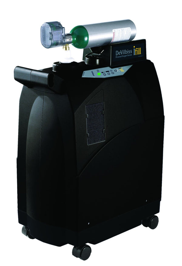 iFill Personal Oxygen Station with Integrated 870 Post Valve and Cart, 2 E Cylinders