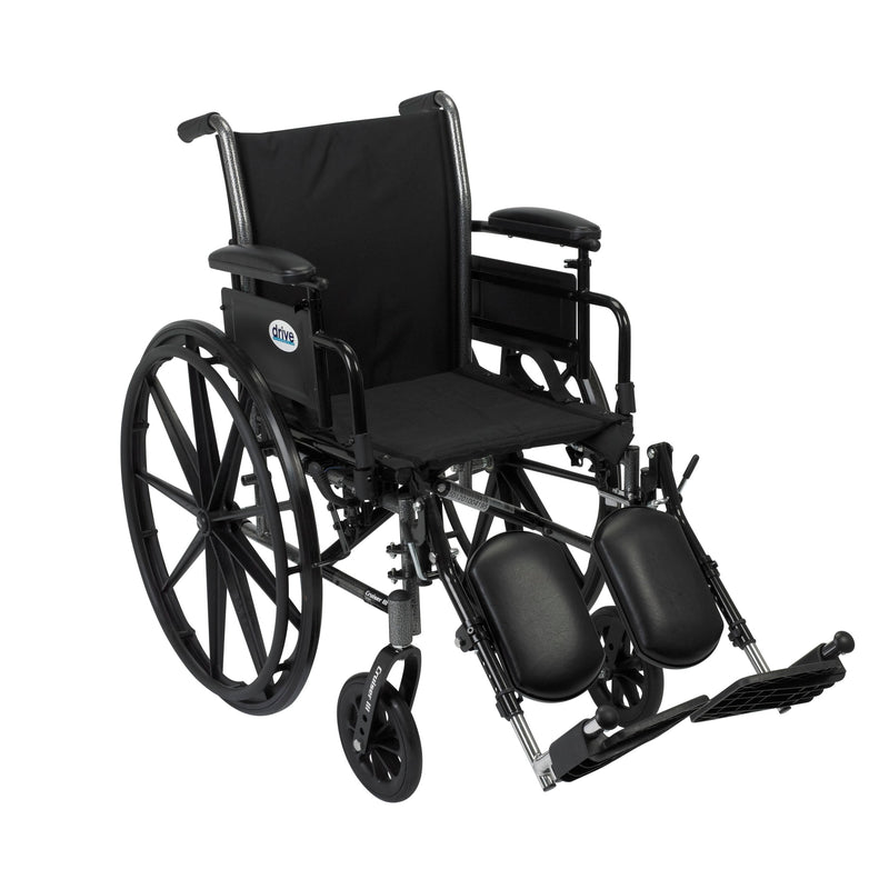 Cruiser III Light Weight Wheelchair with Flip Back Removable Arms, Adjustable Height Desk Arms, Elevating Leg Rests, 16""