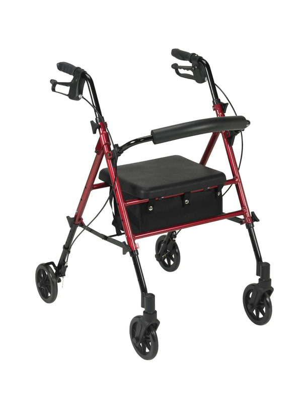 "Adjustable Height Rollator Rolling Walker with 6"" Wheels, Red"