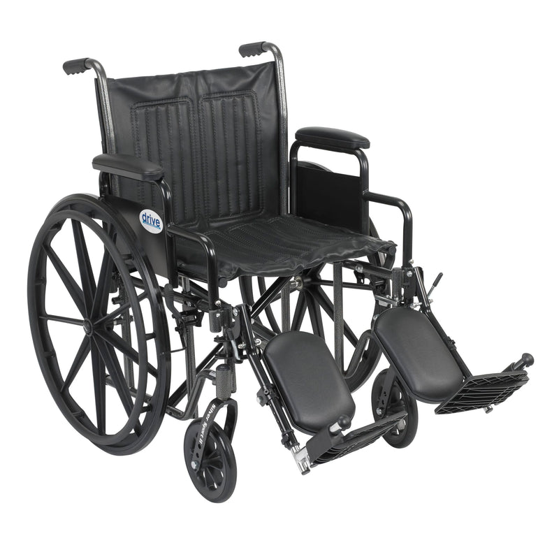 "Silver Sport 2 Wheelchair, Detachable Desk Arms, Elevating Leg Rests, 20"" Seat"
