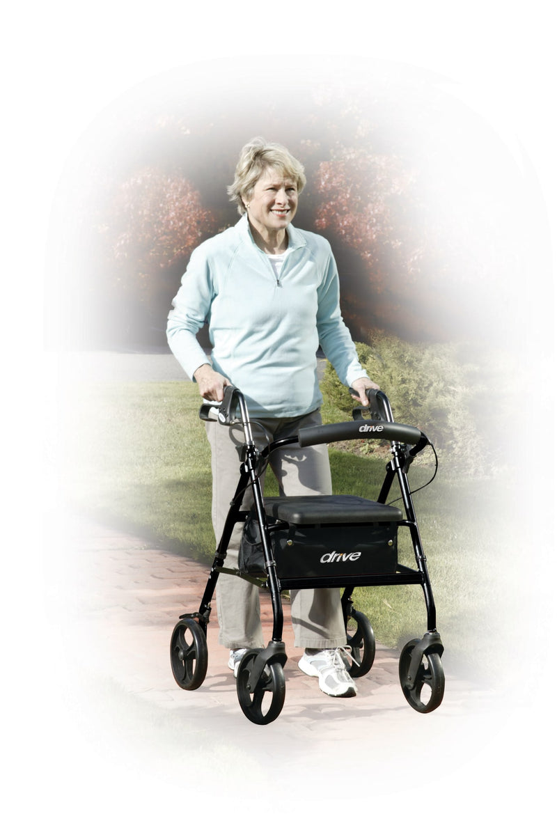 "Rollator Walker with 6"" Wheels, Fold Up Removable Back Support and Padded Seat, Black"