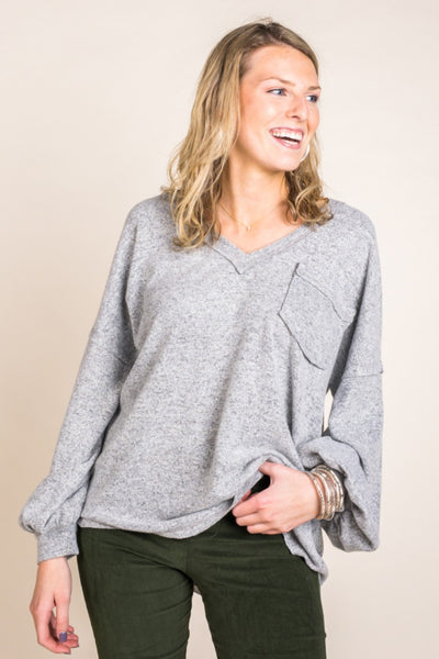 Marled V-Neck Bubble Sleeve Pocket Top