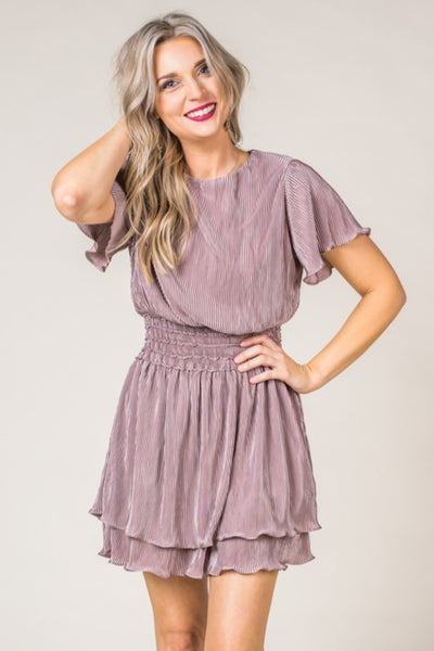 Flutter Sleeve Pleated Mocha Dress