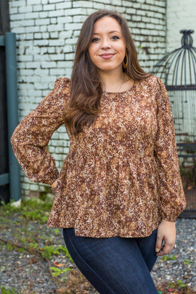 Brantly Brown Floral Top