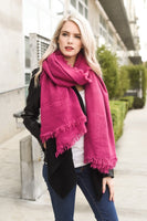 Oversized Frayed Border Magenta Scarf
