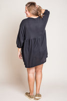 Merritt Button Front Babydoll Dress in Black