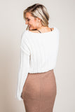 Cheri Chenille Cropped Sweater in Off White