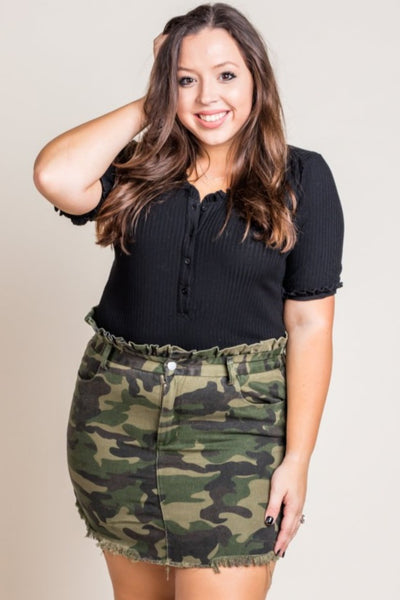 Camo Paperbag Denim Skirt