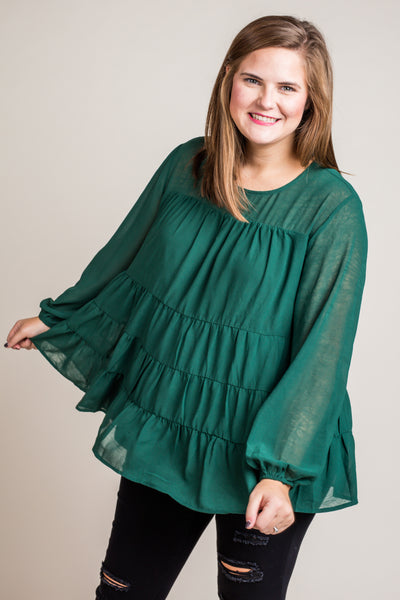 Tallie Tiered Teal Top