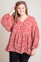 No Fear Print Top in Marsala