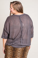 Journey Up Top in Charcoal (XL-2X)