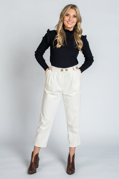 Ivory Cropped Corduroy Pants