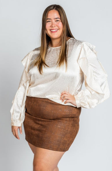 Brown Textured Suede Mini Skirt
