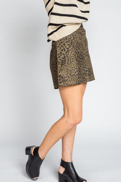 Leopard Print Suede Mini Skirt in Olive