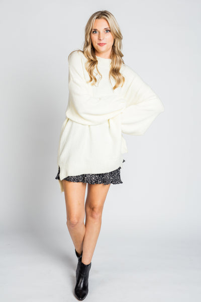 Oversized Bubble Sleeve Sweater in Cream