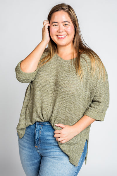 It's A Breeze Sweater Knit Top in Faded Olive