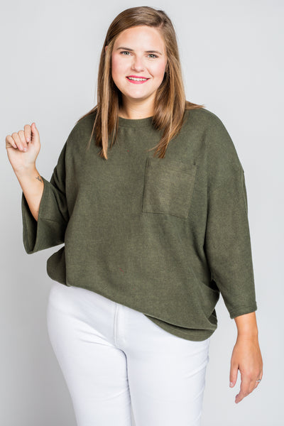 Need A Reason Sweater Top in Olive (XL-2X)