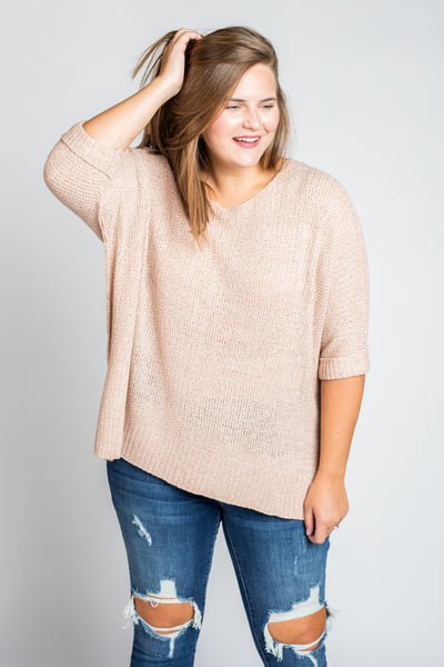 It's A Breeze Sweater Knit Top in Mauve