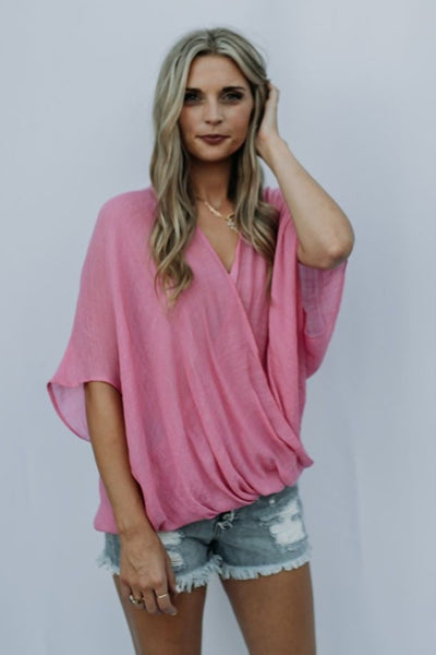 Caylee Crossover Top in Pink