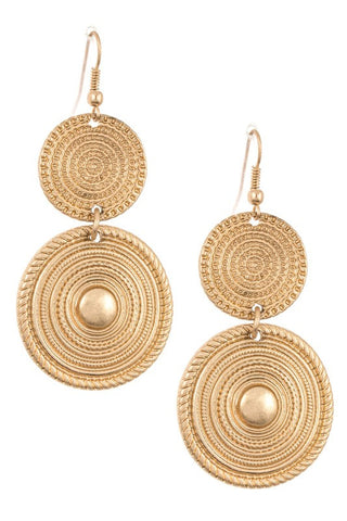 Double Round Detailed Drop Earring