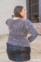 Mindy Metallic Leopard Top (1X-3X)