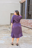 Plum Party Ruffle Midi Dress