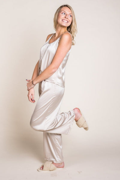 Satin Cami Pants & Pajama Set in Champagne