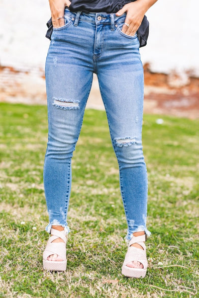 Light Denim High Rise Hem Detail Ankle Skinny
