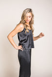 Satin Cami Pants & Pajama Set in Black