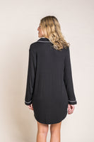 Night Shirt Dress With Piping Detail in Black