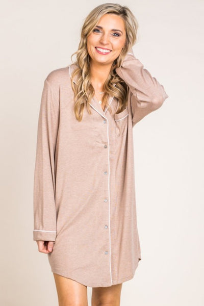 Night Shirt Dress With Piping Detail in Tan