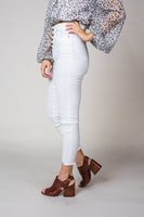 Kali High Waist Distressed Pants in White