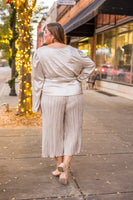 Plus Pleated Trousers in Taupe
