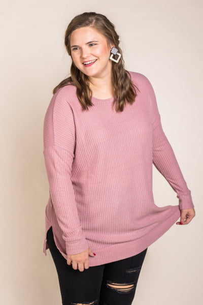 Tunic Length Waffle Top in Dusty Pink
