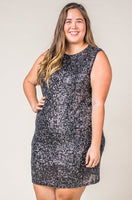 Plus Size Black Sequin Sleeveless Dress