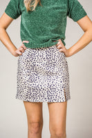 Cheetah Print Faux Suede Skirt