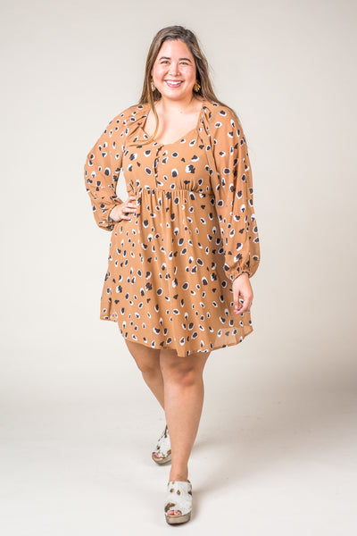 Paula Print Baby Doll Style Dress in Tan