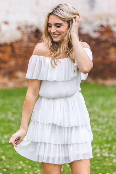 Tiana Tiered Dress in Off White