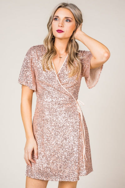 Rose Gold Sequin Wrap Dress