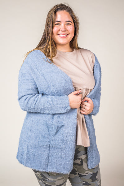 Fuzzy Open Front Light Blue Cardigan