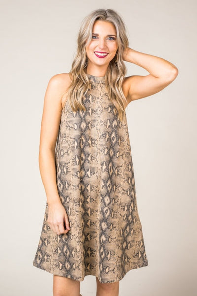 Snake Print Faux Suede Dress