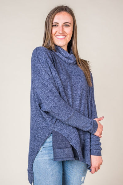Carisa Cowl Neck Poncho Style Sweater in Navy
