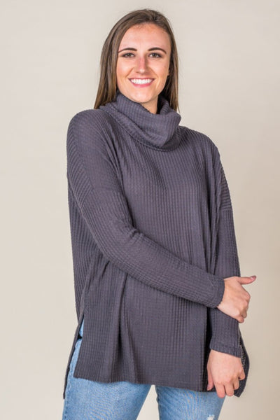 Cassie Cowl Neck Waffle Top in Ash Grey