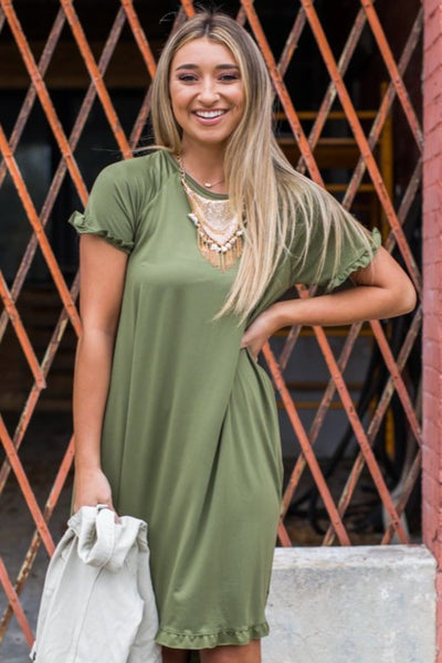 Dena Olive Ruffle Dress
